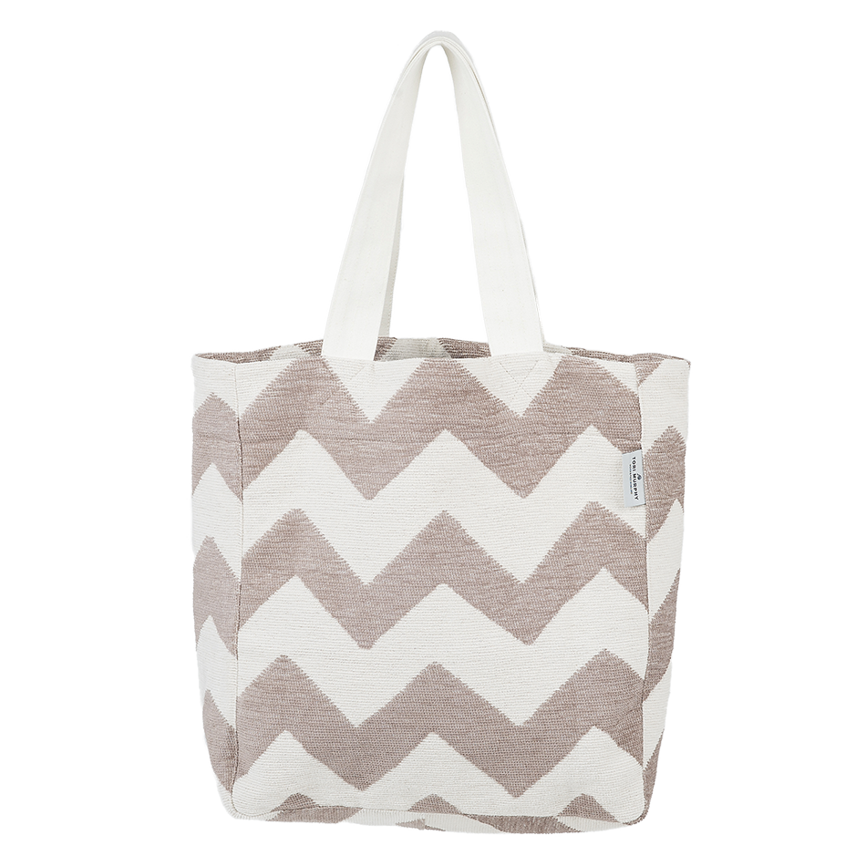 Cotton Chenille Shopping Tote Bag-Chevy Fawn and Linen Shopping Tote-Tori Murphy Ltd