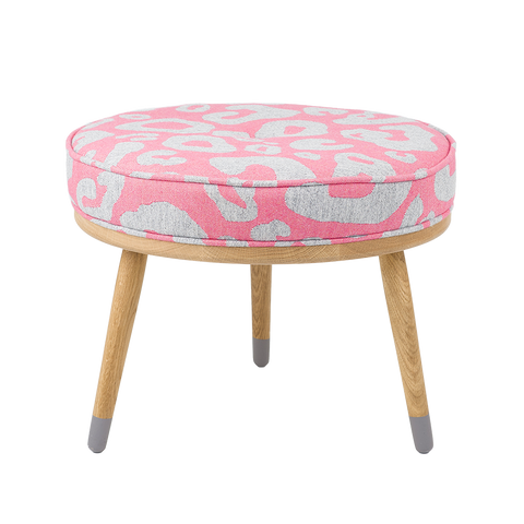 Merino Lambswool Fabric – Large Hamilton Spot Grey and Hot Pink Galvin Brothers Footstool-Tori Murphy Ltd