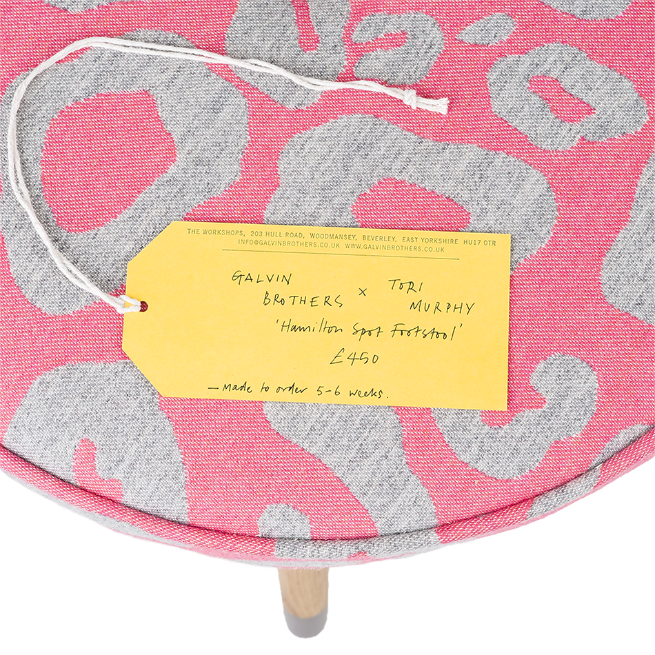 Galvin Brothers x Tori Murphy Large Hamilton Spot Footstool Grey on Hot Pink