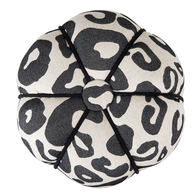 Hamilton Large Spot Fluted Pouf Black on Linen