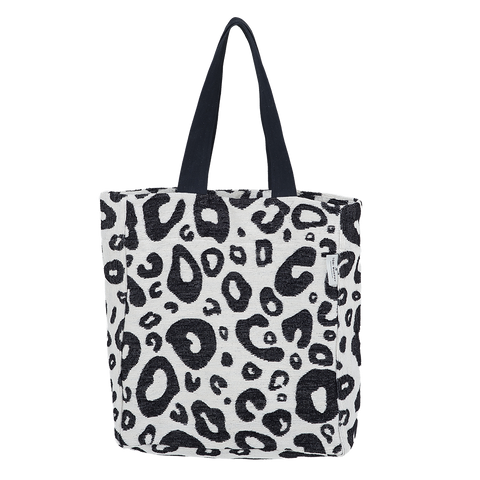 Cotton Chenille Shopping Tote Bag-Large Hamilton Spot Black and Linen Shopping Tote-Tori Murphy Ltd
