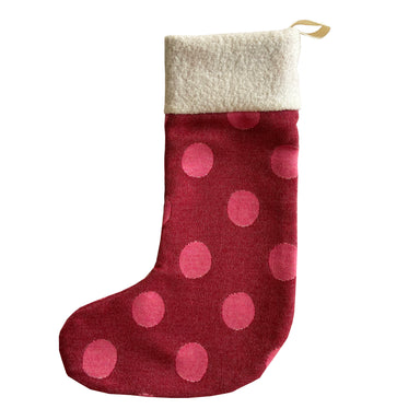 Dotty Spot Christmas Stocking Red & Pink