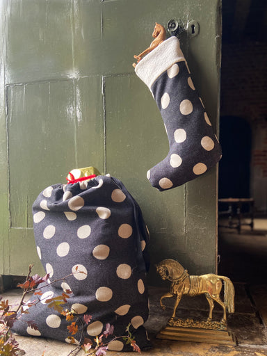 Dotty Spot Santa Sack Small Black