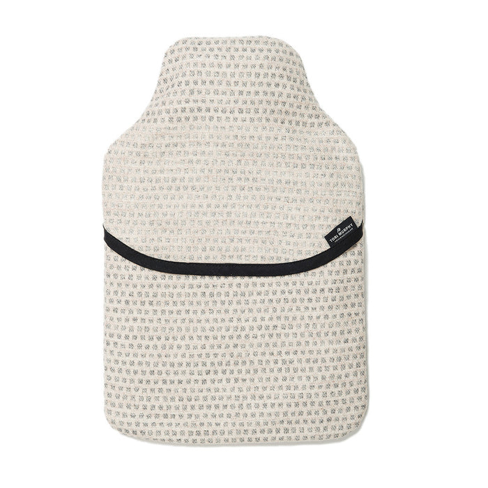 Merino Lambswool Hot Water Bottle | Classic Clarendon Grey on Linen | Tori Murphy Ltd