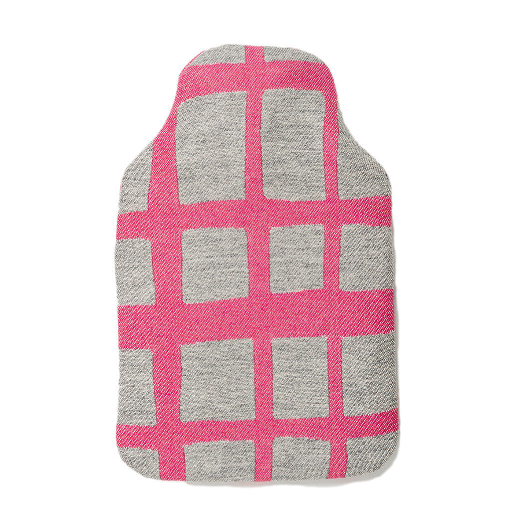 Merino Lambswool Hot Water Bottle | Kensal Check Hot Pink on Grey | Tori Murphy Ltd
