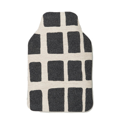 Merino Lambswool Hot Water Bottle | Kensal Check Linen on Black | Tori Murphy Ltd