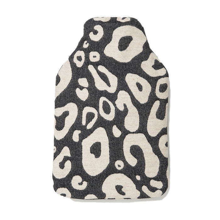 Merino Lambswool Hot Water Bottle | Hamilton Spot Linen on Black | Tori Murphy Ltd