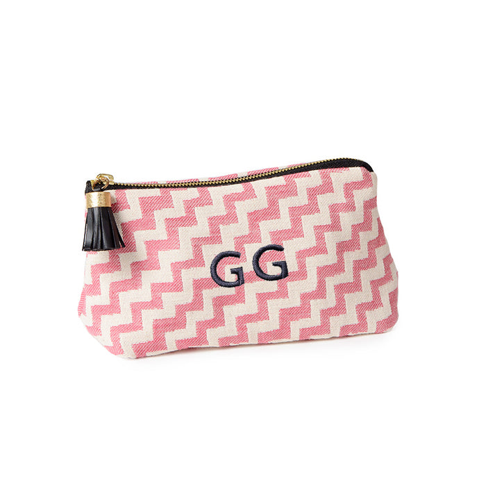 Scallop Stripe Large Wash Bag Rose