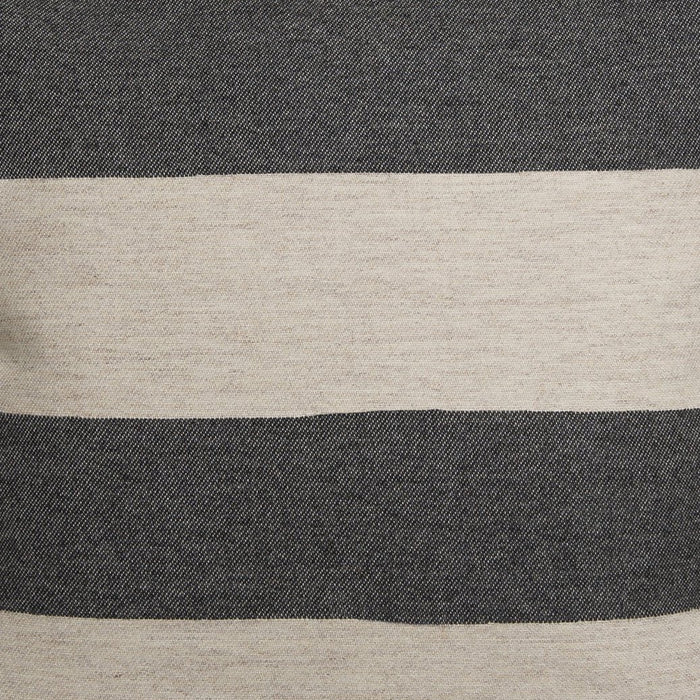 Marshall Stripe Wool Fabric Coal and Linen