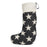 Merino Lambswool Christmas Stocking - Antares Star Linen on Black Stocking - Tori Murphy Ltd