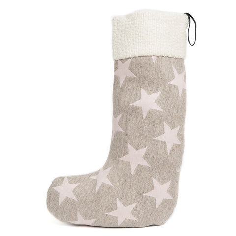 Merino Lambswool Christmas Stocking - Antares Star Pink on Mushroom Stocking - Tori Murphy Ltd
