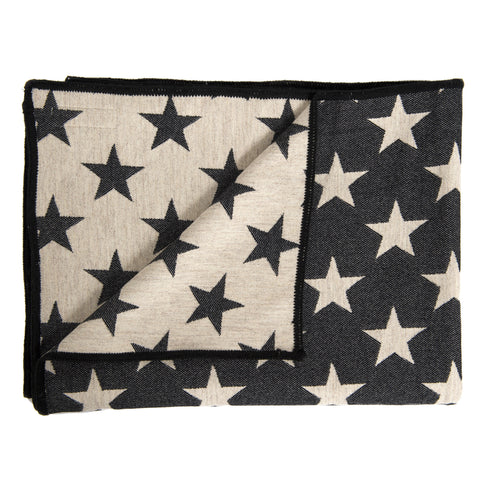 Merino Lambswool Throw - Antares Star Black and Linen Throw - Tori Murphy Ltd