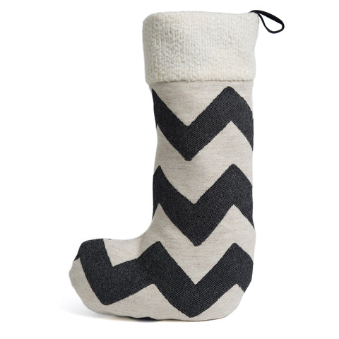 Merino Lambswool Christmas Stocking - Chevy Black and Linen Stocking - Tori Murphy Ltd