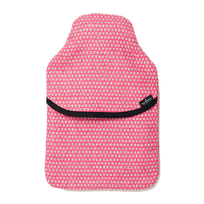 Classic Clarendon Hot Water Bottle Grey on Hot Pink