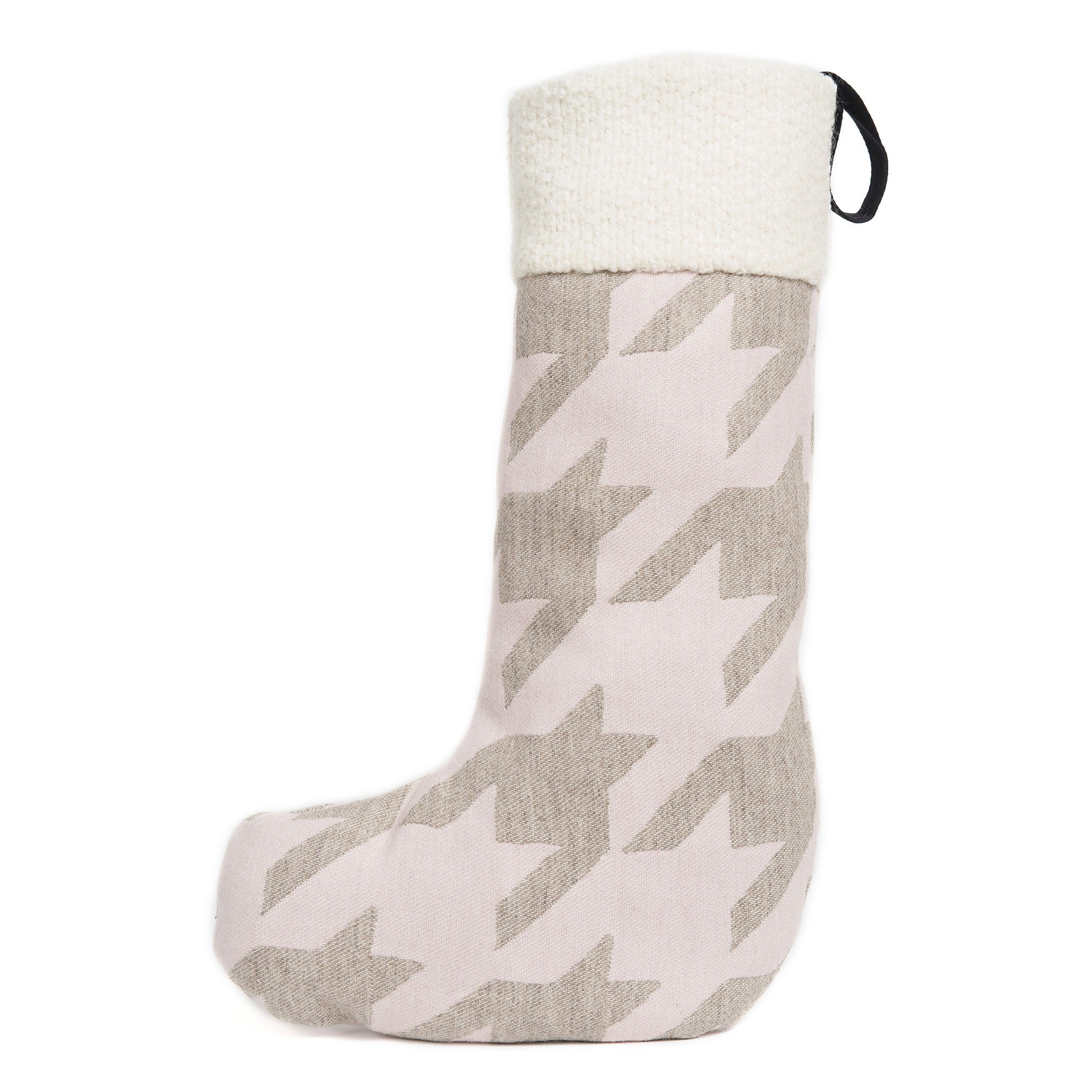 Merino Lambswool Christmas Stocking - Dog Tooth Pink and Linen Stocking - Tori Murphy Ltd