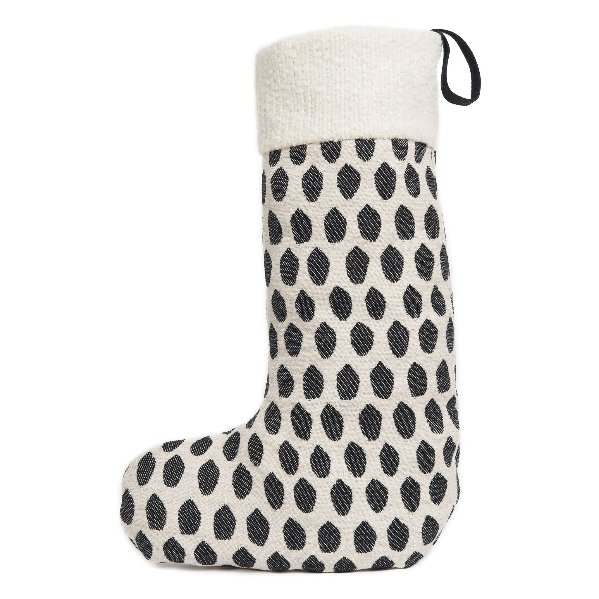 Merino Lambswool Christmas Stocking - Elca Black on Linen Stocking - Tori Murphy Ltd
