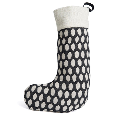 Merino Lambswool Christmas Stocking - Elca Black and Linen Stocking - Tori Murphy Ltd