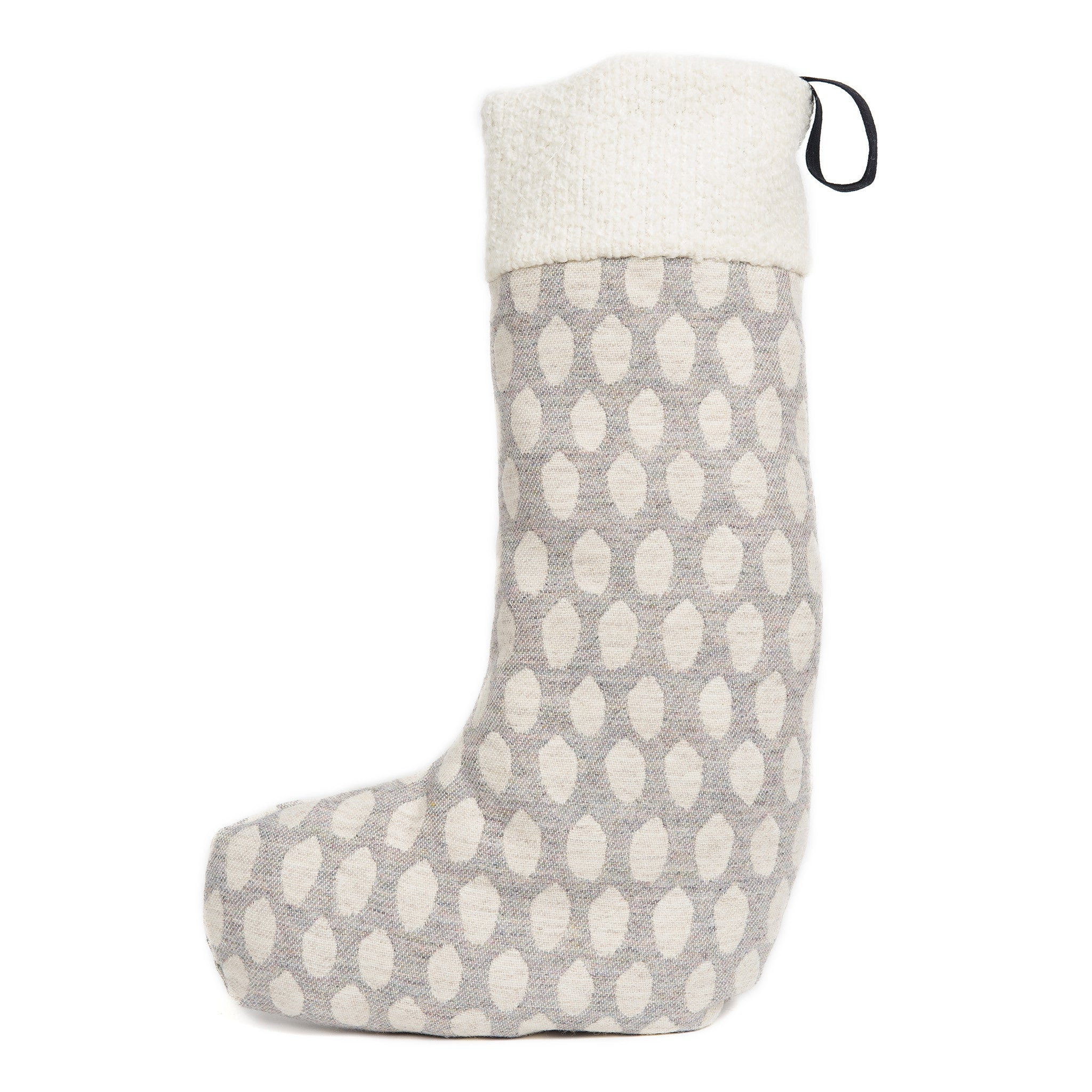Merino Lambswool Christmas Stocking - Elca Pearl and Linen Stocking - Tori Murphy Ltd