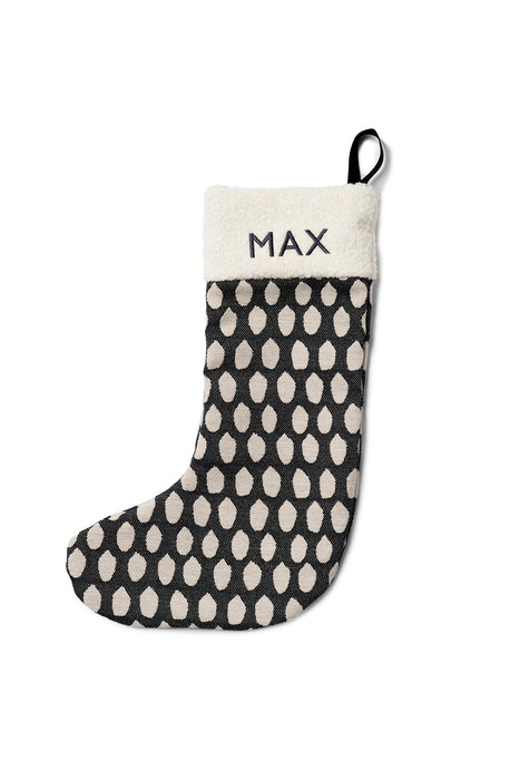Hamilton Small Spot Christmas Stocking Linen on Black