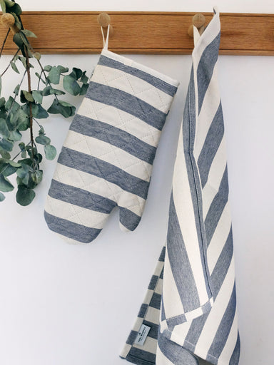 Fastnet Stripe Tea Towel Black