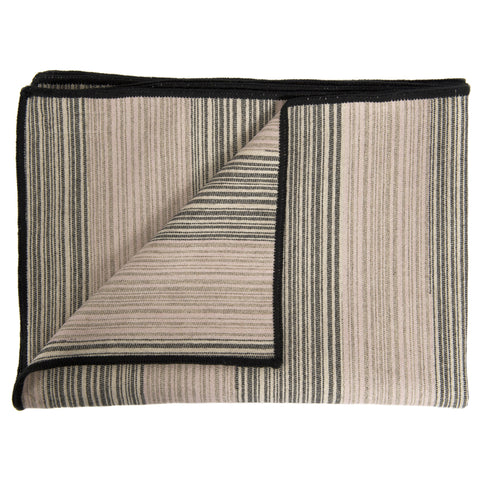 Merino Lambswool Throw - Marshall Stripe Strie' Throw Pink, Coal, Linen, Mushroom and Gold Throw - Tori Murphy Ltd