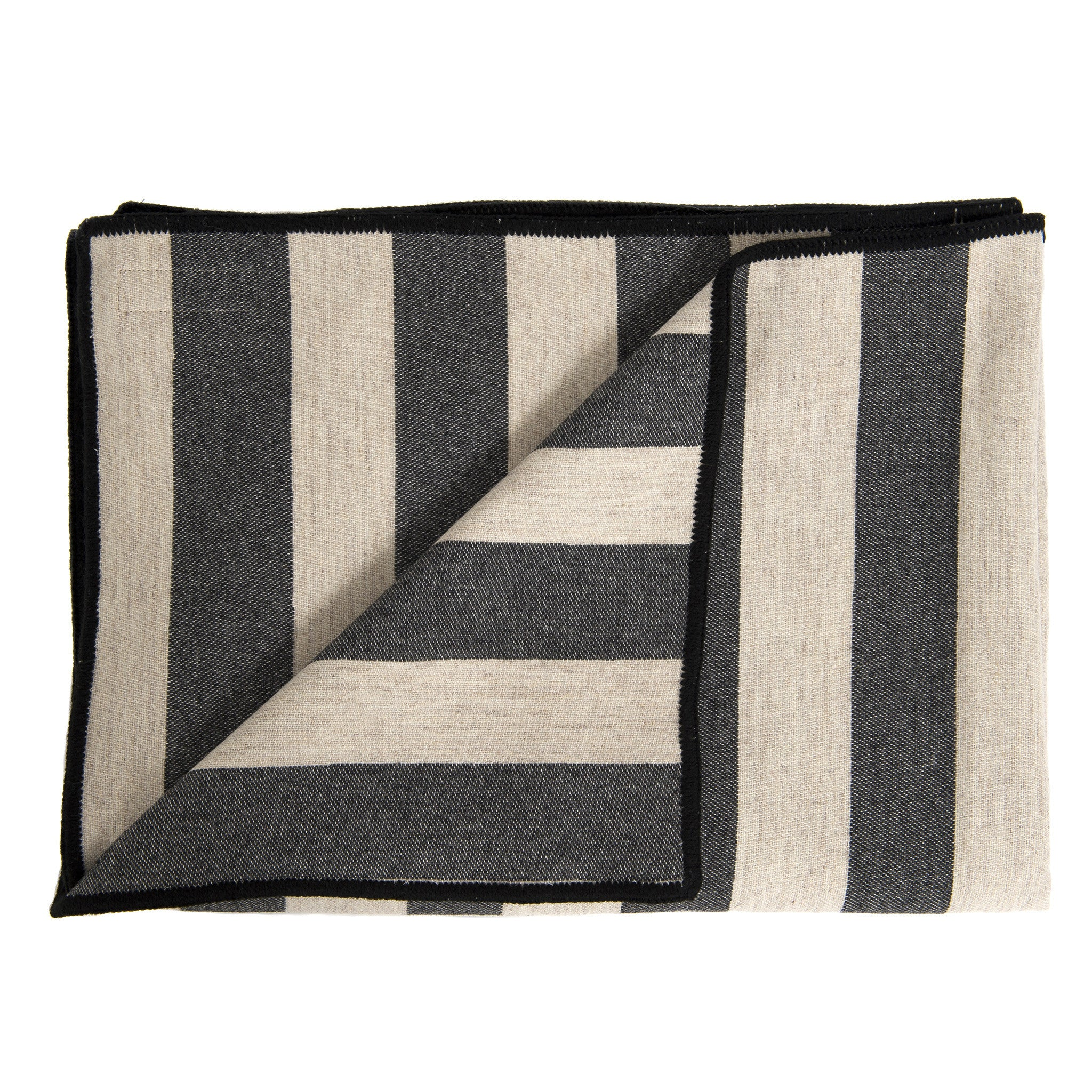 Merino Lambswool Throw - Marshall Stripe Coal and Linen Throw - Tori Murphy Ltd
