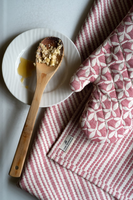 Scallop Stripe Tea Towel Claret