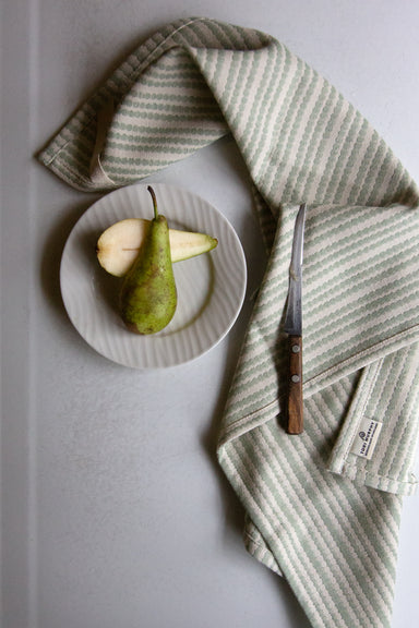 Scallop Stripe Tea Towel Olive