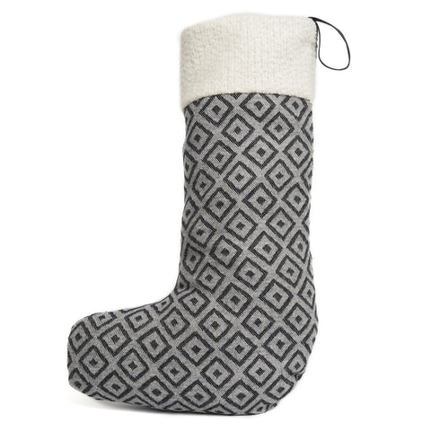 Merino Lambswool Christmas Stocking - Broadway Small Black on Charcoal Stocking - Tori Murphy Ltd