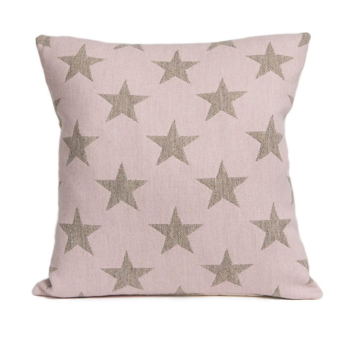 Merino Lambswool Cushion - Antares Star Mushroom on Pink Cushion - Tori Murphy Ltd