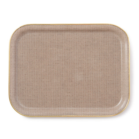 Holkham Waffle Large Rectangular Serving Tray Fawn