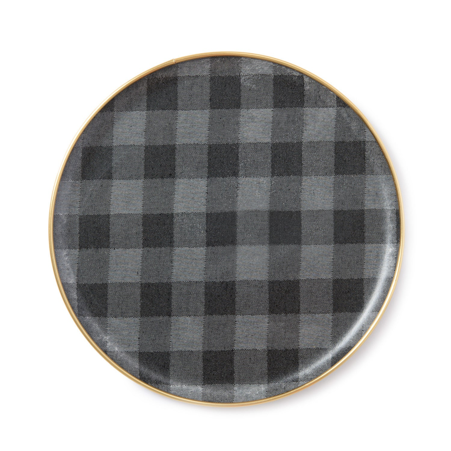 Woodhouse Check Round Serving Tray Black