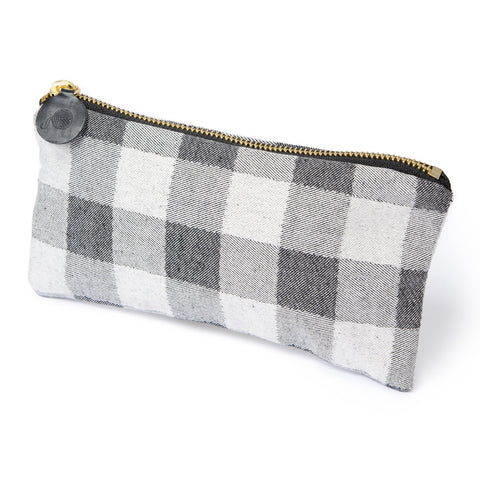 Woodhouse Check Cotton Zip Purse Black