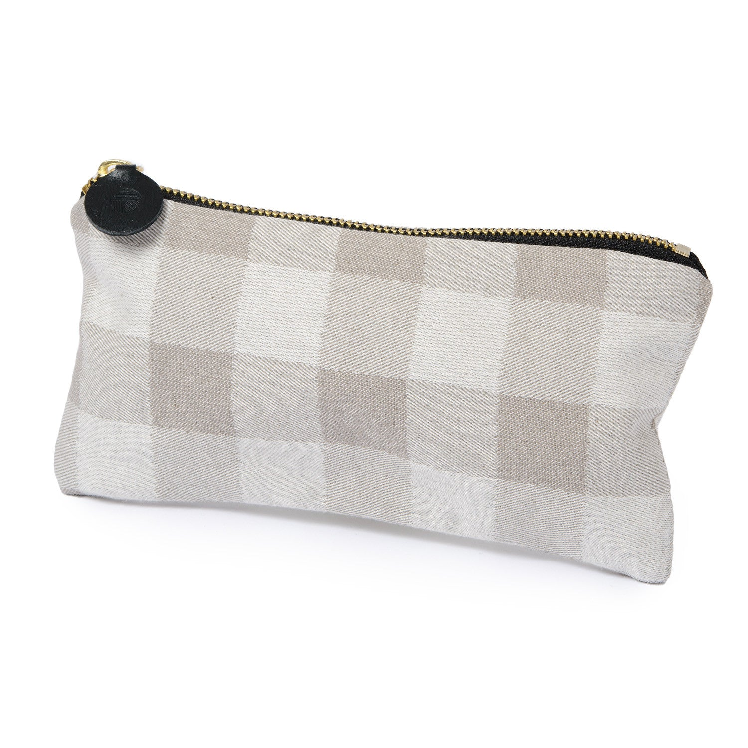 Woodhouse Check Cotton Zip Purse Fawn
