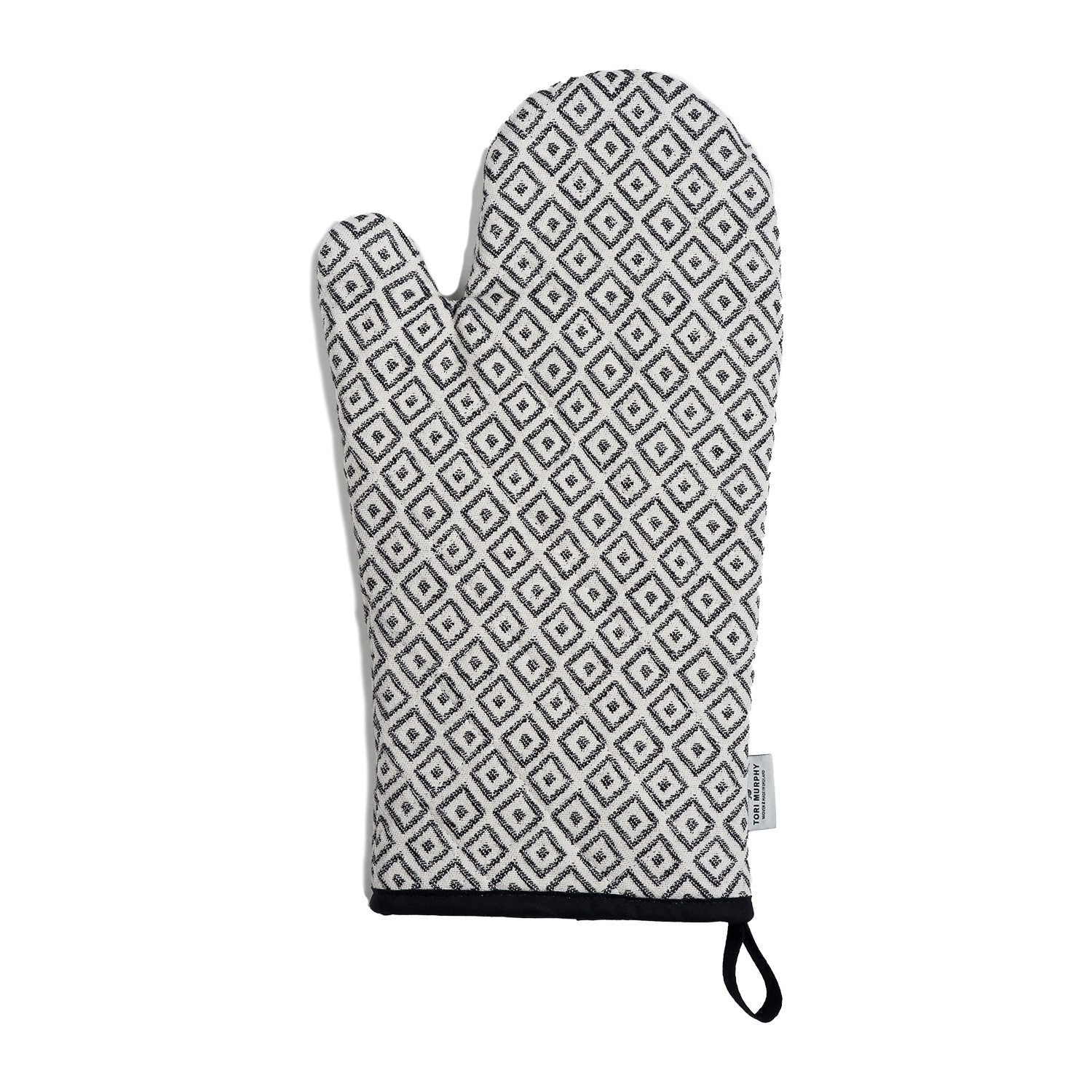 Broadway Oven Glove Black on Linen