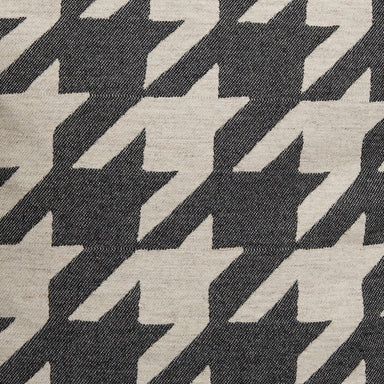 Dog Tooth Wool Fabric Coal and Linen