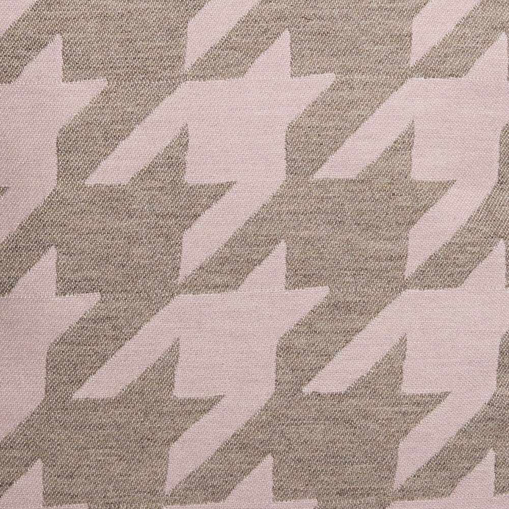 Dog Tooth Wool Fabric Pink and Mushroom