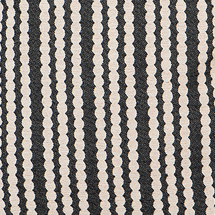 Scallop Stripe Wool Fabric Black