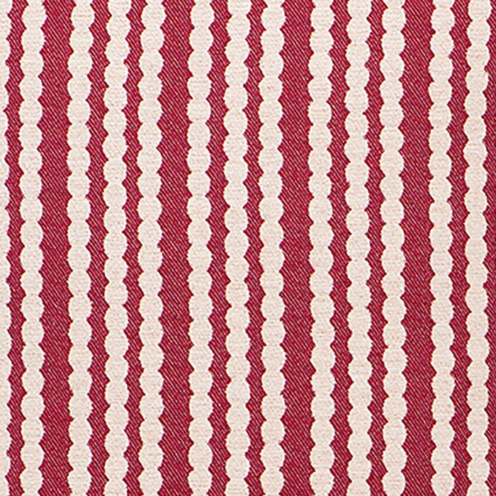 Scallop Stripe Wool Fabric Raspberry