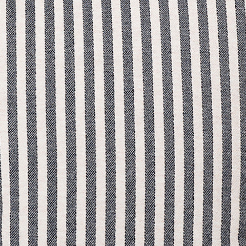 Harbour Stripe Wool Fabric Graphite and Ecru