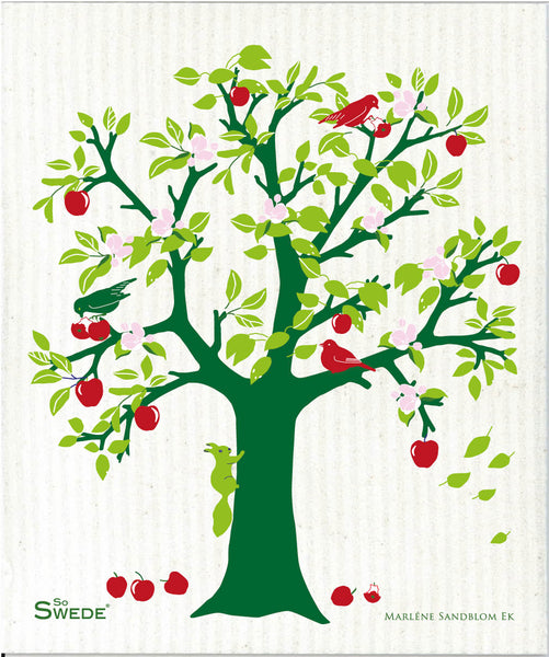 Green & Red - Apple Tree Dishcloth