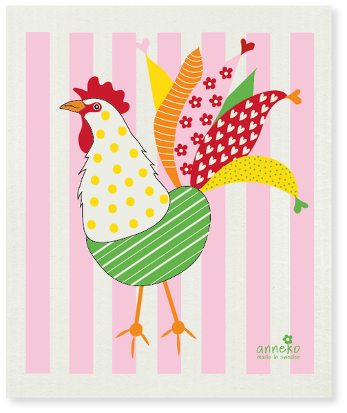 Pink & Green & Yellow  - Multi-coloured Rooster Dishcloth