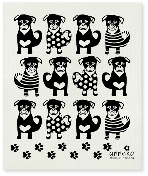 Black - Anneko Dogs Dishcloth