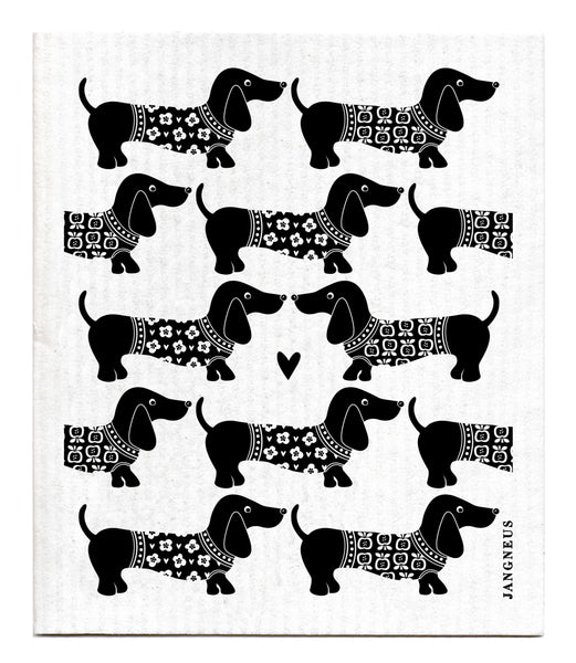 Black - Dachshund Dishcloth