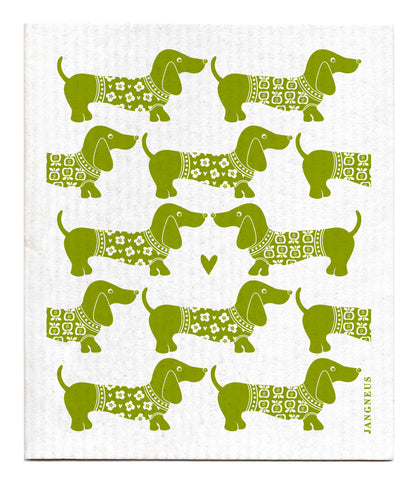 Green - Dachshund Dishcloth