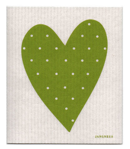Green - Heart Dishcloth