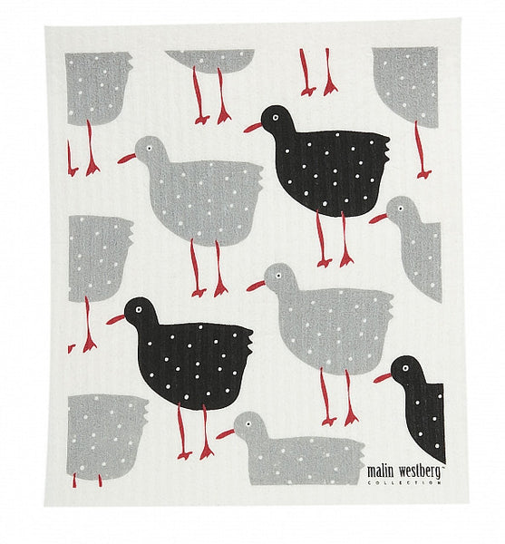 Grey & Black - Shore Birds Dishcloth