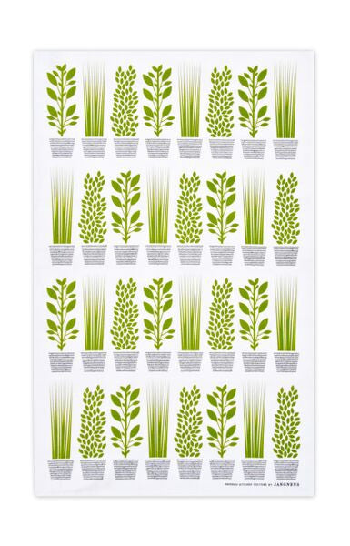Green - Herbs Tea Towel