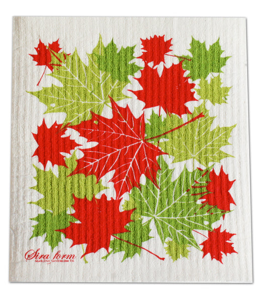 Green & Red - Maple Leaves Dishcloth