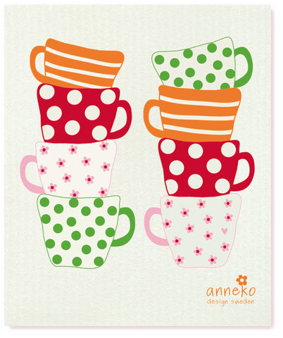 Red & Pink & Green & Orange  - Cups Dishcloth